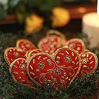 Beaded ornaments, 'Red Velvet Heart' (set of 5)