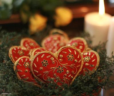 Beaded ornaments, 'Red Velvet Heart' (set of 5) - Red Heart Shaped Beaded Ornaments from India (Set of 5)