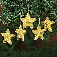 Beaded ornaments, 'Dazzling Stars' (set of 5)