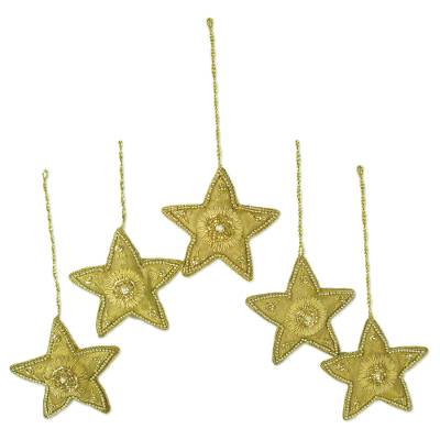 Beaded ornaments, 'Dazzling Stars' (set of 5) - Golden Star Shaped Beaded Ornaments (Set of 5)