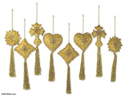 Beaded ornaments, 'Golden Splendor' (set of 8) - Golden Fair Trade Hand Beaded Ornaments (Set of 8)