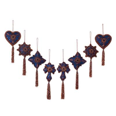 Beaded ornaments, 'Teal Splendor' (set of 8) - Artisan Crafted Christmas Ornament Set 8 Beaded Embroidery