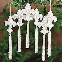 Beaded ornaments, 'Fleur-de-Lis' (set of 6)
