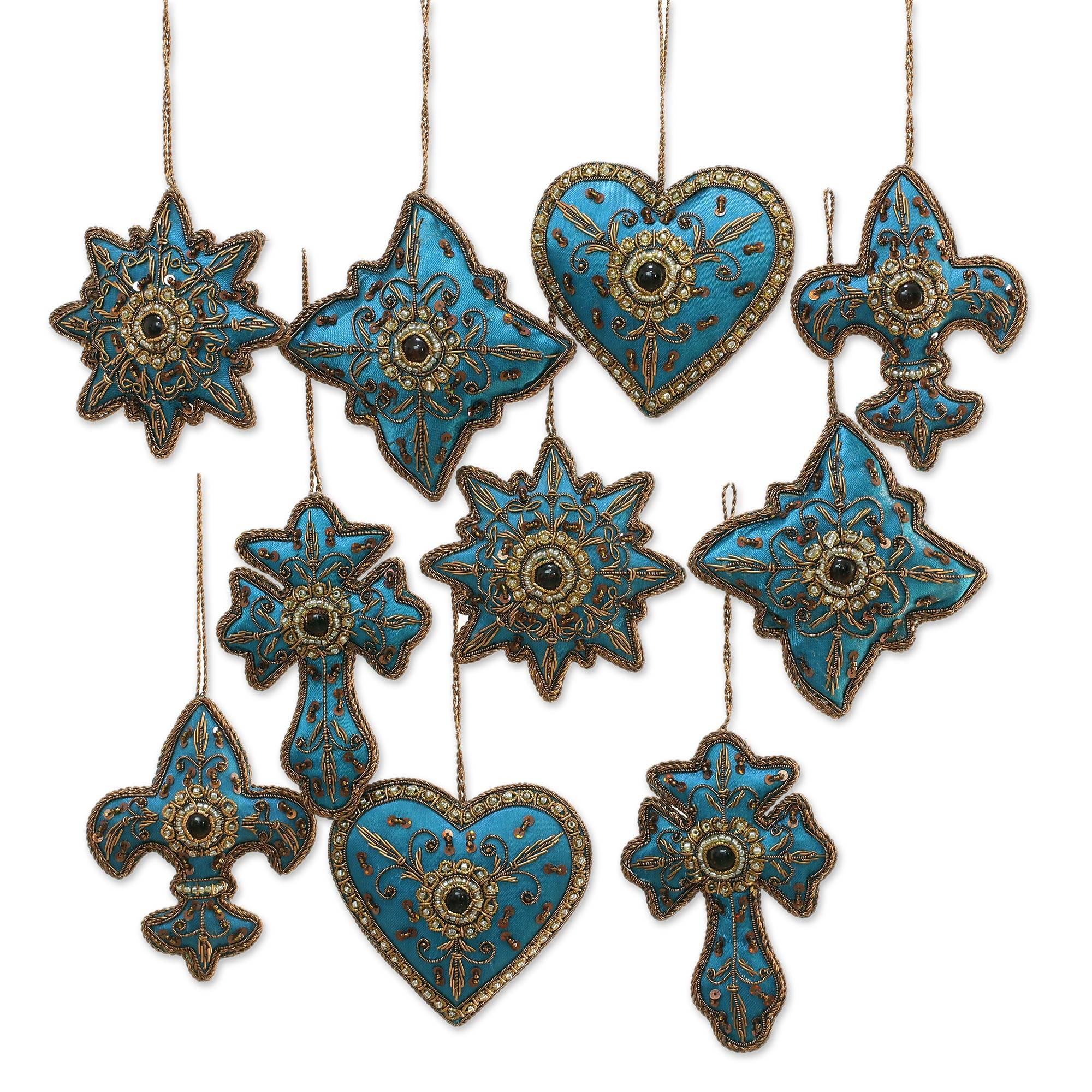 Teal Hand Crafted Beaded Ornaments from India (Set of 10) - Teal Joy ...