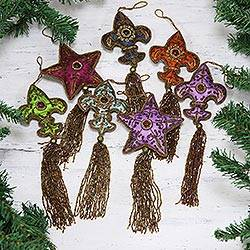 Beaded ornaments, 'Happy Holiday' (set of 7)