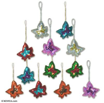 Beaded ornaments, 'Maple Leaves' (set of 12) - Beaded ornaments (Set of 12)