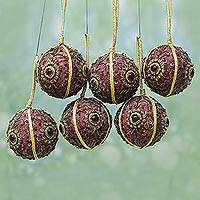 Beaded ornaments, 'Christmas Magic' (set of 6) - Beaded ornaments (Set of 6)