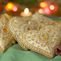 Beaded ornaments, 'Golden Glory' (set of 8) - Indian Handmade Heart Shaped Ornaments (Set of 8)
