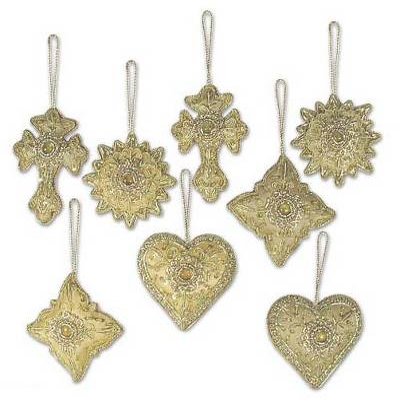 Beaded ornaments, 'Golden Glory' (set of 8) - Indian Handmade Heart Shaped Ornaments (Set of 8)