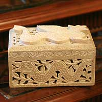 Soapstone jewelry box, 'Winged Dragon' - Jali Soapstone jewellery Box from India