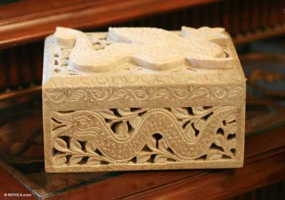 Soapstone jewelry box, 'Winged Dragon' - Jali Soapstone Jewelry Box from India