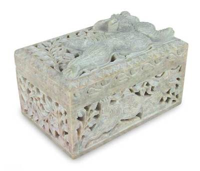 Soapstone jewelry box, 'Majestic Dragon' - Soapstone jewellery box