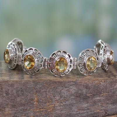 Citrine link bracelet, 'Lemon Blossom' - Handmade Citrine and Silver Bracelet Indian Jewelry