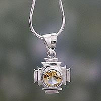 Citrine pendant necklace, 'Lighthouse'