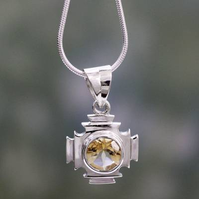 Citrine pendant necklace, 'Lighthouse' - Citrine pendant necklace