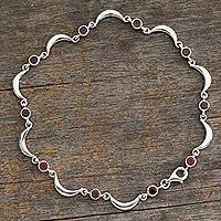 Garnet anklet, 'Crescent Moons' - Unique Sterling Silver Crescent Moons and Garnet Anklet