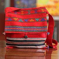 Cotton shoulder bag, 'Rajasthan Rapture'