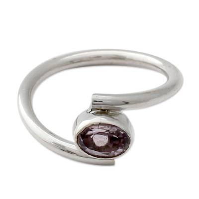 Amethyst solitaire ring, 'Lavender Spin' - Sterling Silver and Amethyst Solitaire Ring from India