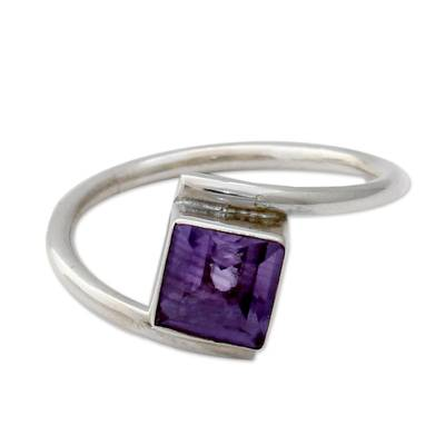 Sterling Silver and Amethyst Solitaire Ring from India