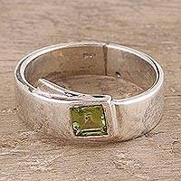 Peridot solitaire ring, 'Buckle Up'