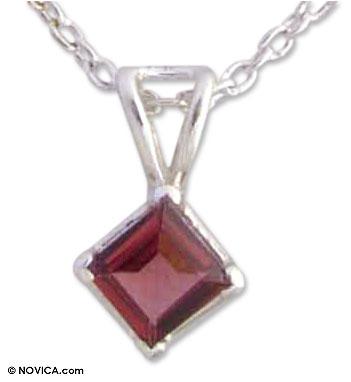 Garnet pendant necklace, 'Scarlet Simplicity' - Garnet pendant necklace