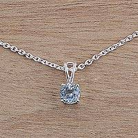 Blue topaz solitaire pendant necklace, 'Heaven's Promise'