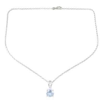 Blue topaz solitaire pendant necklace, 'Heaven's Promise' - Blue Topaz and Silver Solitaire Pendant Necklace