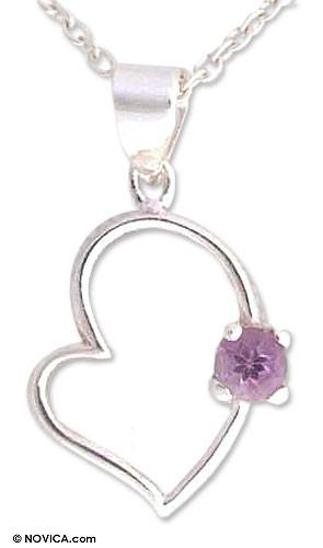 Amethyst heart necklace, 'Young at Heart' - Amethyst heart necklace