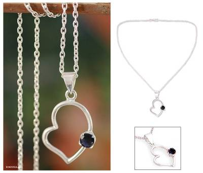 Iolite heart necklace, 'Young at Heart' - Sterling Silver and Iolite Heart Necklace