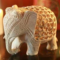 Soapstone sculpture, 'Mother Elephant' - Handcarved Natural Soapstone Sculpture