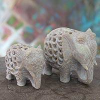 Soapstone sculptures, 'Elephant Duet' (set of 2)