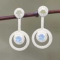 Topaz and citrine dangle earrings,
