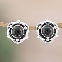 Onyx button earrings, 'Black Rose' - Fair Trade Onyx and Silver Button Earrings