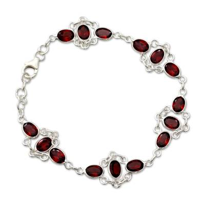 Garnet Link Bracelet Sterling Silver Handmade in India