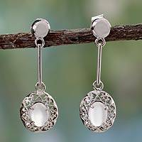 Moonstone dangle earrings, 'Cameo' - Moonstone dangle earrings