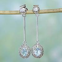Blue topaz dangle earrings, 'Indian Starlight' - Blue topaz dangle earrings