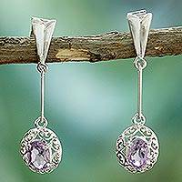 Amethyst dangle earrings, 'Antique Lace' - Amethyst dangle earrings
