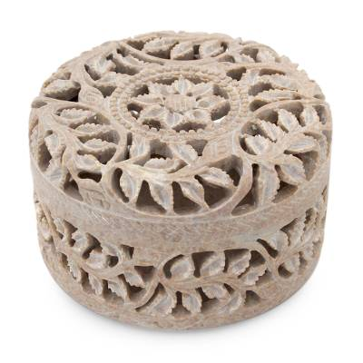 Soapstone jewelry box, 'Floral Arabesque' - Handmade Jali Soapstone jewellery Box
