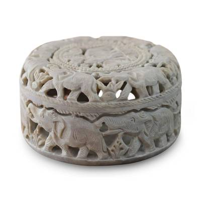Soapstone jewelry box, 'Elephant Procession' - Artisan Crafted Jali Soapstone jewellery Box