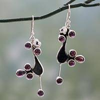 Garnet dangle earrings, 'Lovebirds' - Garnet dangle earrings