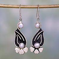 Pearl dangle earrings, 'Love Blooms' - Pearl dangle earrings