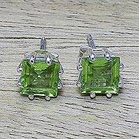 Peridot stud earrings, 'Lucky Squares' - Peridot Earrings Sterling Silver Handmade Indian Jewelry