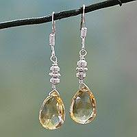 Citrine dangle earrings, 'Honey Drops' - Citrine and Sterling Silver Dangle Earrings from India
