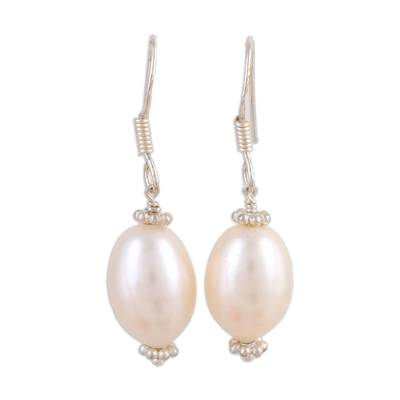 Hand Crafted Bridal Jewelry Pearl Dangle Earrings