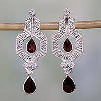 Garnet chandelier earrings, 'Sophisticate' - Garnet chandelier earrings