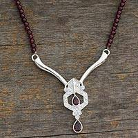 Garnet Y necklace, 'Sophisticate' - Sterling Silver Beaded Garnet Necklace