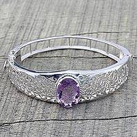 Amethyst wristband bracelet, 'Royal Orchid' - Amethyst wristband bracelet