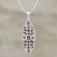 Garnet pendant necklace, 'Prism' - Garnet pendant necklace