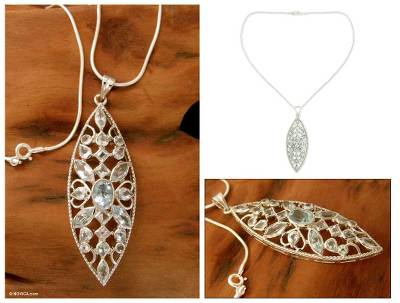 Blue topaz pendant necklace, 'Prism' - Blue topaz pendant necklace