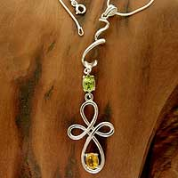 Peridot and citrine Y-necklace, 'Spin' - Peridot and citrine Y-necklace